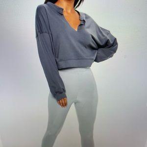 Missguided Tan Oversized V Front Sweatshirt